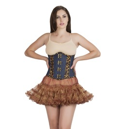Plus Size Leopard Print Leather Denim Underbust Top & Skirt Corset Dress