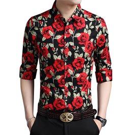 Flowers Printed Long Sleeve Single Breasted Slim Fit Dress Shirt Men