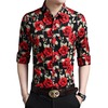Rebelsmarket flowers printed long sleeve single breasted slim fit dress shirt men shirts 13