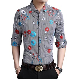 Vertical Stripes Flowers Butterfly Print Long Sleeve Dress Shirt Men