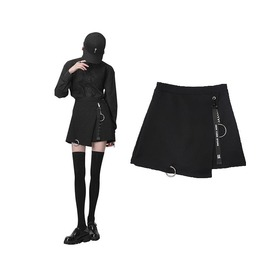 Punk Grunge Black Women Skirt