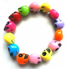 Cool Colourful Plastic Skull Head Elasicated Bracelet