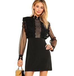 High Fashion Women's Black Mesh Long Sleeve Mini Dress