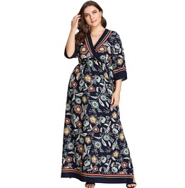 Tribal Women's V Neck Plus Size Floral Print Dress