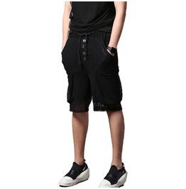 Punk Elastic Men' Splicing Shorts Harem Pants