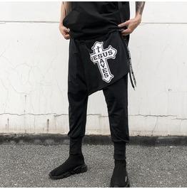 Cross Design Print Punk Men's Loose Harem Pants