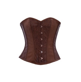 Brown Flower Texture Faux Leather Gothic Steampunk Overbust Corset Costume