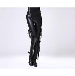 Vegan Leather Fringed Women Leggings