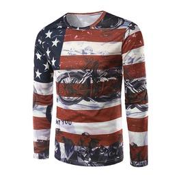 Rockabilly American Flags Long Sleeve Men T Shirt