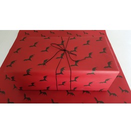 Flying Bats Red Spooky Gift Wrap