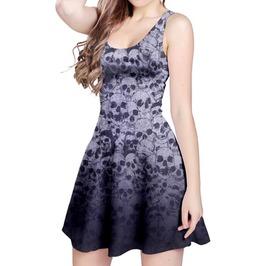 Gothic Skulls Reversible Skater Dress By Elliz Clothing (Purple)