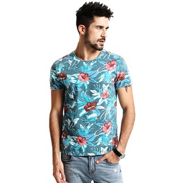 Boho Men's Cotton Hawaiian Round Neck Shirt