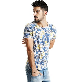 Boho Men's Round Neck Short Sleeve Beach Top
