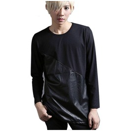 Punk Goth Asymmetric Long Sleeve Leather Men's T Shirt