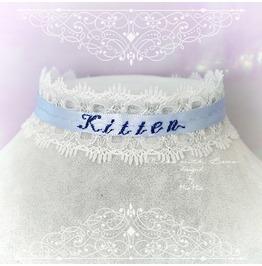 Choker Necklace White Lace Light Blue Kitten Monogram Jewelry , Pastel Goth