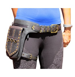One Leaf Leather Holster Bag Utility Belt Waist Pack Black And Brown