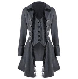 Coat Outerwear Gothic Black Grey Women's