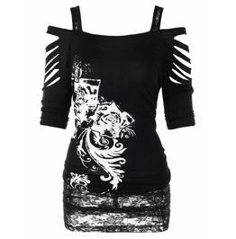 Shredded Shoulders Short Sleeve Printed Black Laced T Shirt Women's Top