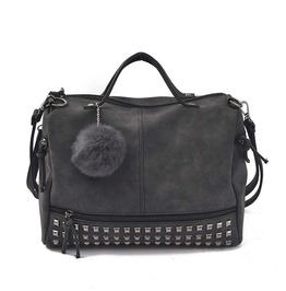 Vintage Vegan Leather Rivets Shoulder Handbag