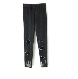 Women's Punk Rivet Deco Distressed Knee Ripped Leggings