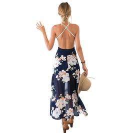 Boho Lace V Neck Crisscross Back Floral Dress