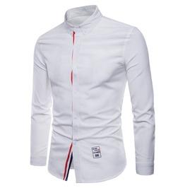 Men's Contrast Stripe Slim Fitted Long Sleeve Shirt