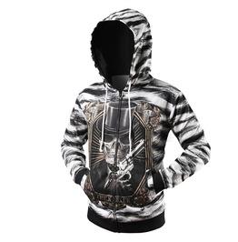 Spooky 3 D Skeleton & Gun Zipper Men Hoodie Sweatshirt