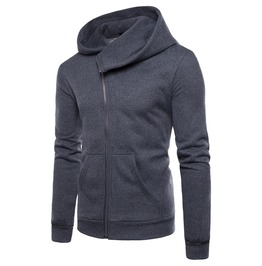 Men's Slanted Zipper Hooded Coat