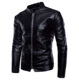 Men's Classic Slim Fitted Faux Leather Jacket