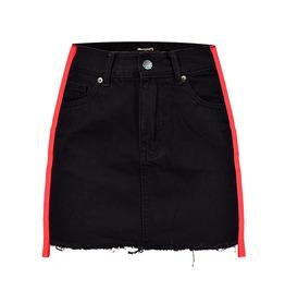 Women's Ribbon Colorblock Denim Wrap Skirt