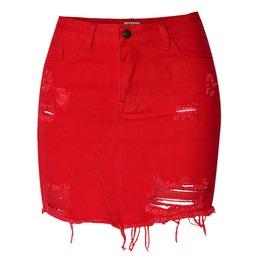 Women's High Waist Distressed Denim Wrap Skirt
