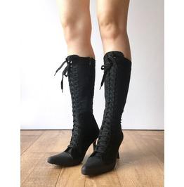 Rtbu Sexy Punk High Heel Stiletto Lace Up Knee Sneaker Boots Black