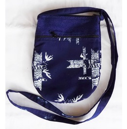 "Hippie Boho Shoulder Zippered Tote Thai Fabric Purse 6.25"" X 8.5"""