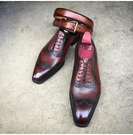 Handmade Men Wingtip Dark Burgundy Formal Shoes, Men Wing Tip Dress Shoes