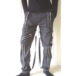 Alternative Pinstripe Bondage Trousers Jeans Punk Goth Zips Straps