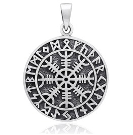 Sterling 925 Silver Magical Staves Viking Helm Of Awe Compass Pendant