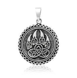 Sterling 925 Silver Viking Print Bear Paw Claw Slavic Warding Veles Pendant