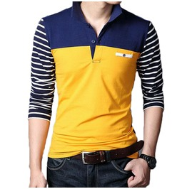 Casual Spring Stripped Long Sleeve Men Polo Shirt Up To 5 Xl