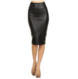 Bodycon Knee Length Office Pencil Vegan Leather Women Skirt