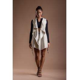 Deconstructed White Jacket / White Minimalist Vest / Raw Hem Jacket