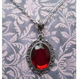 Gothic Victorian Silver Metal Filigree Red Jewel