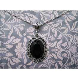 Gothic Victorian Silver Metal Filigree Black Jewel