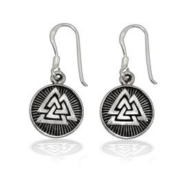Sterling 925 Silver Valknut Odin Viking Norse Dangle Earrings Set