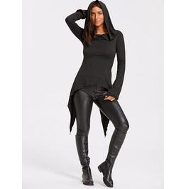 Black Long Sleeve Pullover Hoodie Long Style Punk Women's Top