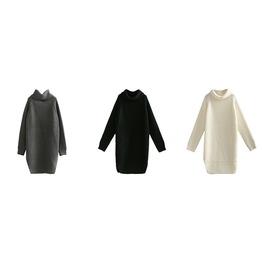 Turtleneck Split Sweater Knit Long Sweater Long Sleeve Women's Top