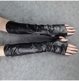 Long Sleeve Gloves Fingerless Pu Leather Women's Accessories