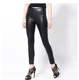 Faux Leather Pencil Pants Leggings With Side Zipper Pockets Women's Bottom