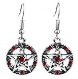 Gothic Red Crystal Pentagram Drop Earrings