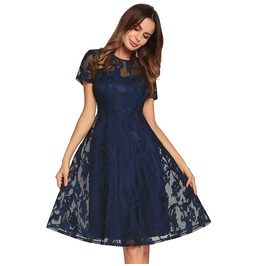 Vintage Women Floral Short Sleeve Pleated Lace Slim Cocktail Party Dress