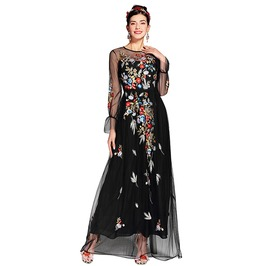 High Fashion Floral Mesh Embroidered Long Black Dress